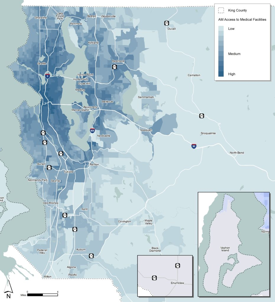 This map shows different levels of access by highlighting the relative number of medical facilities that are reachable via transit within 60 minutes.