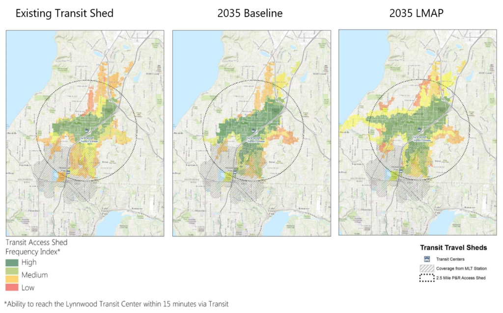 Three maps showing 15-minute transit access sheds that grow progressively larger under three study scenarios: Existing, 2035 Baseline, and 2035 with the implementation of the Lynnwood Transit Center Multimodal Accessibility Plan.