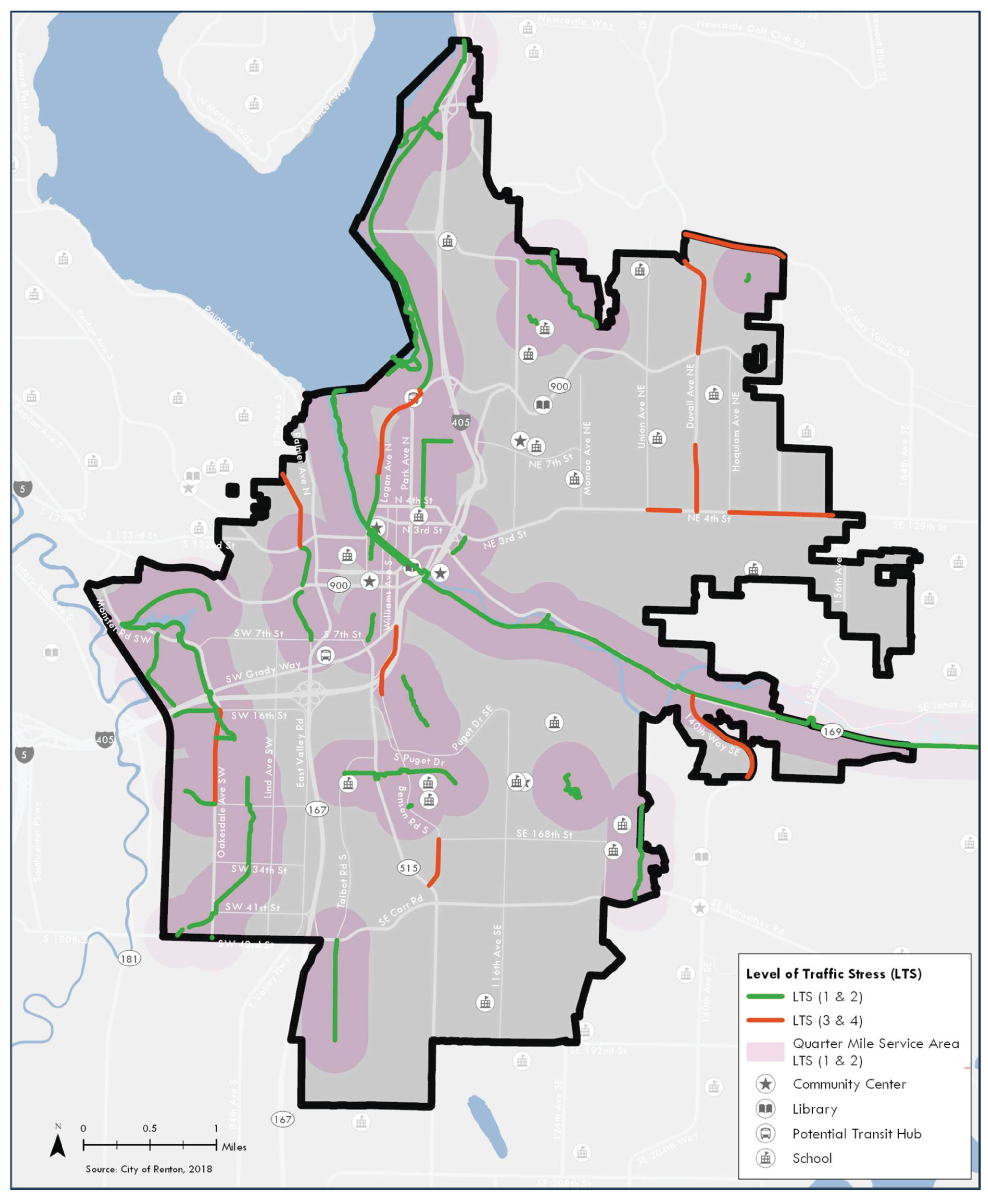 This map shows the bicycle level of traffic stress on the Existing Network in Renton and the quarter mile service area around low-stress bike facilities. There are large areas of the city that are not served.