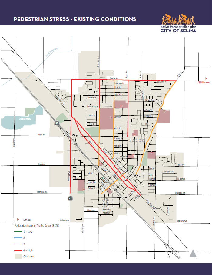 This map shows the existing pedestrian level of traffic stress on priority corridors in the City of Selma. No corridors are currently low-stress (LTS score 1 or 2).